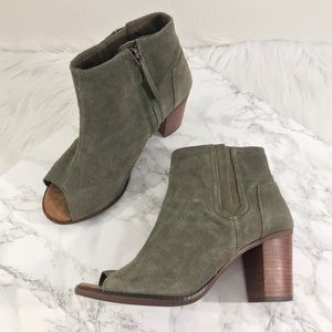 Toms Women's Peep Toe Heel Booties in Green 9.5